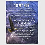 Personalized to My Son Gift Eagles Fleece Blanket for Son from Mom & Dad Always Believe in Yourself Great Customized Blanket for Birthday Christmas Thanksgiving Graduation Wedding Anniversary