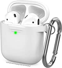 AhaStyle Upgrade AirPods Case Silicone Protective Cover Skin [Front LED Visible] Compatible with AirPods 2 and 1(White)
