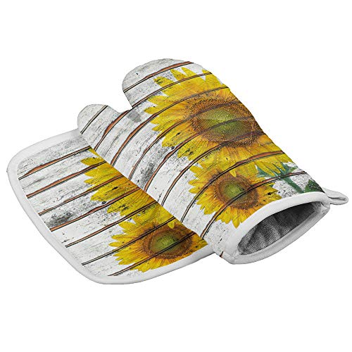 Chic Decor Home Juego de manoplas de horno y soporte para ollas, color amarillo girasol, resistente al calor, superficie antideslizante para cocina, barbacoa, hornear, parrilla rústica de madera