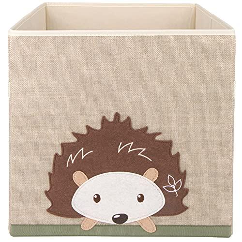 Bieco Aufbewahrungsbox Kinder   Igel Motiv ca. 36L faltbar   Süße Spielzeug Kiste für Kallax Regal   Aufbewahrungsbox 33x33x33   Kallax Boxen für Spielzeug Aufbewahrung   Storage Box Kallax Korb