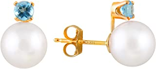 14K Gold Handpicked AAA Quality 7-7.5mm Round Genuine White Freshwater Cultured Pearl Stud Earrings Set with Birthstones
