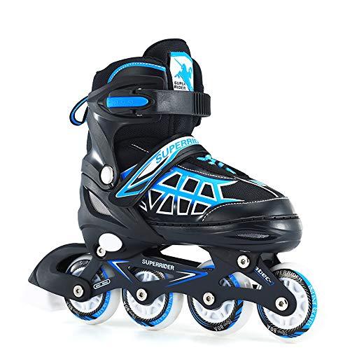 Inline Skates Kinder verstellbar, Outdoor-Blades-Rollschuhen für Mädchen und Jungen, Verschleißfeste Roller Skates Herren/Damen Blau