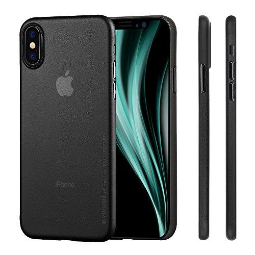 memumi Cover for iPhone X, Case for iPhone X, 0.3mm Custodia Ultra Sottile Anti-Graffio e Resistente alle Impronte Digitali Caso della Copertura Protettiva in Plastica Dura-Trans-Black(2018)