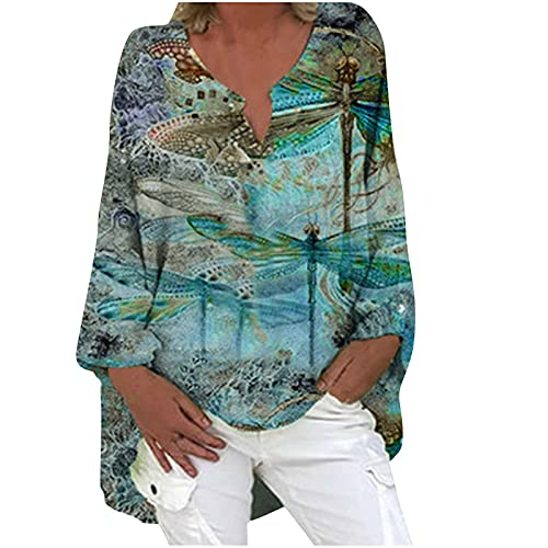 Women Cotton Linen Tshirt Tops, Casual Long Sleeve Trendy Vintage Loose Fit Blouses Summer Plus Size V Neck Tunic Tees