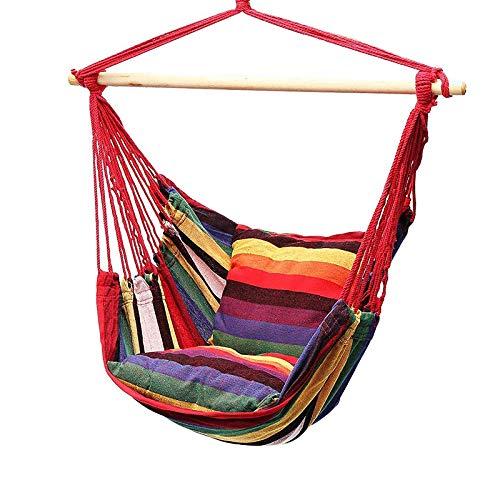 ACELEY Silla de Hamaca con 2 Almohadas, sin Palo de Madera, sillas de jardín Colgantes Interiores y Exteriores, para jardín, terraza, balcón, Sala de Estar, Silla giratoria