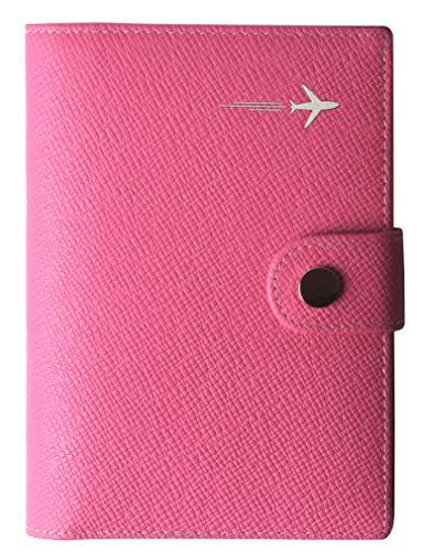 Passport Holder Cover Wallet RFID Blocking Leather Card Case Travel Document Organizer Pink