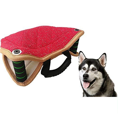 Verstärktes Beißkissen, Hundeziel-Beißkeil-Schleppspielzeug mit 2 Griffen und 1 Schlaufe aus Jute/Leinen für kleine und mittlere Hunde