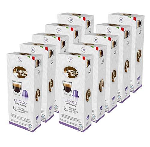 100 Nespresso Kapseln Kompatibel von Espresso Italia, LUNGO Intensität 6 von 12, 100 Kaffeekapseln, 10 x 10 Getränke