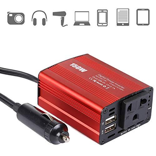 Roboraty Inversor De Corriente 150w 1 Tomacorrientes De Ca Y 2 Puertos De Carga USB 12v A 220v/110,Convertidor del Inversor del Coche 12v para Portátil con Almohadilla para Smartphone,EU220V