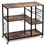 Giantex Industrial Kitchen Baker's Rack with Lockable Universal Wheel, Microwave Oven Stand, Metal Frame, Utility Storage Shelf, Basket and Hooks, Easy Assembly (Brown)