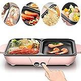 KTYXDE BBQ-Hot-Pot, Rauchfreier Barbecue-Kombitopf Multifunktions-Dual-Control-Hot-Pot Mit Intelligenter Einstellung, Rosa, Blau Elektrogrill (Color : Pink)