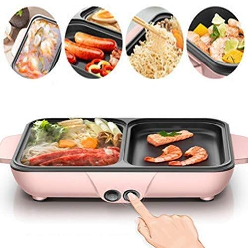 CIGONG BBQ-Hot-Pot, Rauchfreier Barbecue-Kombitopf Multifunktions-Dual-Control-Hot-Pot Mit Intelligenter Einstellung, Rosa, Blau Barbecue-Grill (Color : Pink)