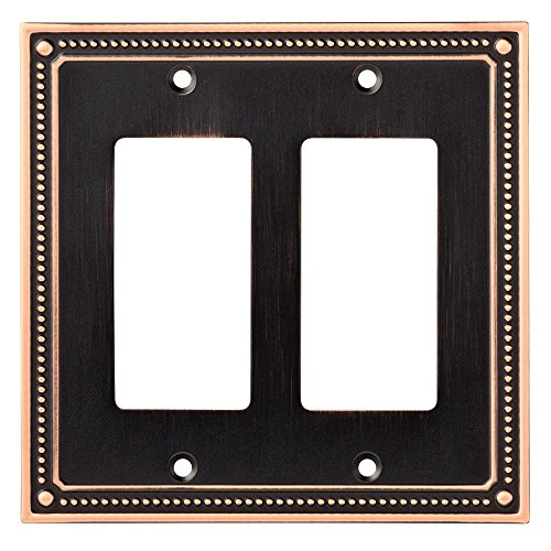 Franklin Brass W35065-VBC-C Classic Beaded Double Decorator Wall Plate/Switch Plate/Cover, Bronze with Copper Highlights