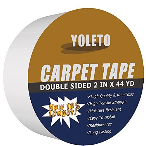 Cinta adhesiva de doble cara para alfombras de área, resistente agarre adhesivo para suelos de madera dura, alfombras al aire libre, almohadillas, alfombrillas, alfombrillas para...