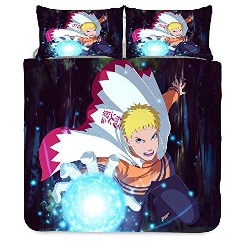 Jiaxiin Naruto - Uzumaki Naruto Juego de Funda nórdica para Ropa de Cama 3 Piezas Funda de edredón Funda de Almohada de algodón (EU-Double)