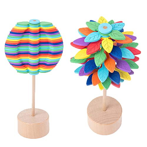 Wooden Office Home Toys Stress Relief Toy - Leaf-Shaped Display Stand Holder Decoration for Desk Top...