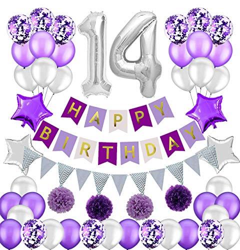 Colorpartyland - Juego de decoraciones de cumpleaños, color morado y plateado