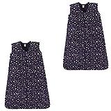 Hudson Baby Unisex Baby Cotton Sleeveless Wearable Sleeping Bag, Midnight Stars 2-pack, 18-24 Months US