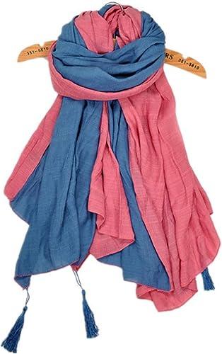 NANIH Home écharpe Douce pour Femmes avec Pompons écharpe MultiCouleure en Coton et Lin
