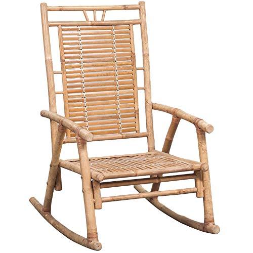 AYNEFY- Silla mecedora de bambú, silla tumbona de sol, sillas de balancín de madera de bambú para patio exterior, silla de jardín