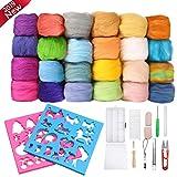 Jeteven® 24 Farben Filz Wolle Bastel Schafwolle Quennslandwolle mit Werkzeugset 2 Modell, geeignet für Heimwerker Nadelfilz Nassfilz und Trockenfilz (20 Reine Farben + 4 Mischfarben / 3g)