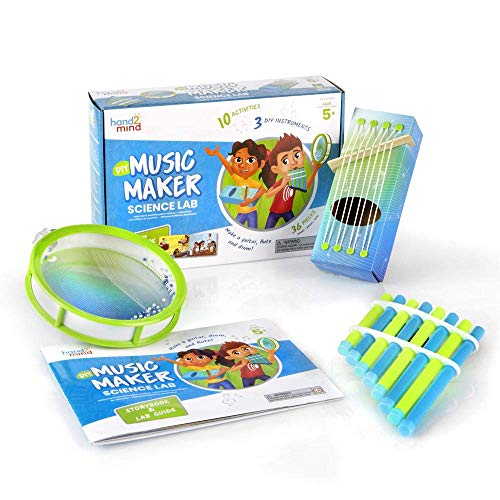 hand2mind - 92393 Science Kit Music Maker, STEM Activities for Kids Ages 5-7, STEM Toys, Kids Storybook, Pan Flute, Ocean Drum, and Box Guitar, 10 At Home Science Experiments for Kids