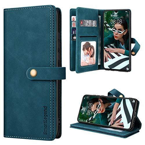 SmartLegend Handyhülle für Huawei P30 Lite Hülle Premium Leder PU mit 10 Kartenfach Flip Hülle Magnet Klapphülle Silikon Bumper Schutzhülle für Huawei P30 Lite/P30 Lite New Edition Tasche - Blaugrün