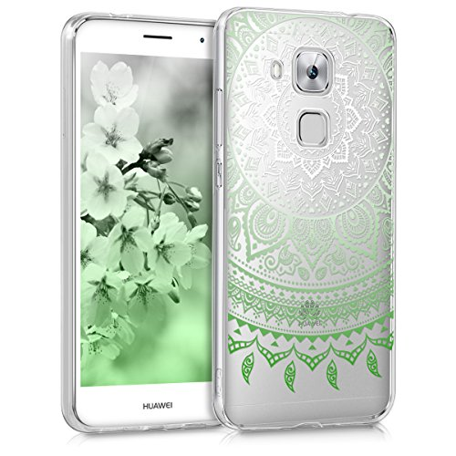 kwmobile Huawei Nova Plus Hülle - Handyhülle für Huawei Nova Plus - Handy Case in Indische Sonne Design Grün Weiß Transparent