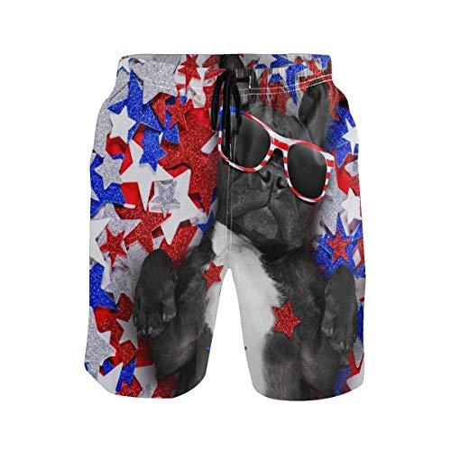 akingstore Bulldog francés con Gafas de Sol Bañador para Hombre Pantalones Cortos de Playa de Secado rápido para niños con Bolsillos