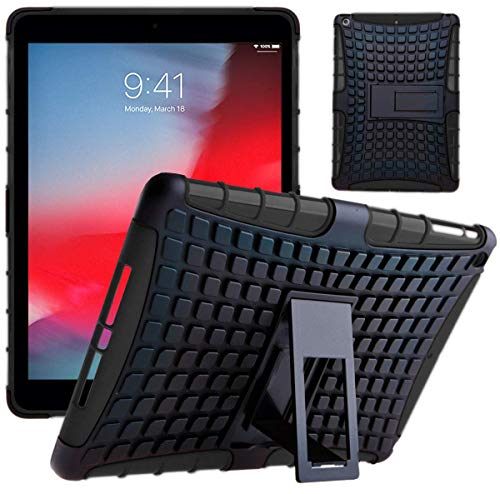 New iPad 10.2 2019 Case, DN-TECHNOLOGY New iPad 10.2 (2019) SHOCKPROOF Survivor Military-Duty Tough Rugged HEAVY DUTY Armor Protective Case with Detachable Stand - Kid's iPad Case (BLACK)