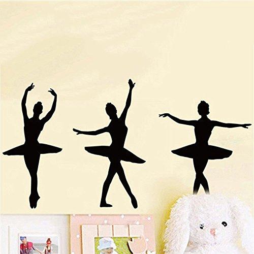 ufengke Wandtattoo Ballerina-Ballett Tänzerim Silhouette Wand Aufkleber für Mädchen Dekorative Wandaufkleber Abnehmbare DIY Vinyl Wandtattoos Tanz Themed Wandbild für Wohnzimmer, Mädchen Schlafzimmer