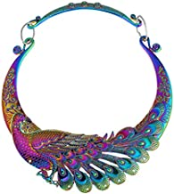 TOOGOO Retro etnico tallado purpura verde pavo real collar grande indio maxi joyeria de las mujeres collar exagerado joyeria
