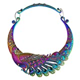 TOOGOO Retro etnico intagliato viola verde pavone grande collana indiano maxi gioielli donne gioielli collana esagerata