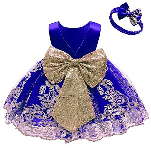FYMNSI Vestito da festa per bambini e bambine, senza maniche, con fascia, blu reale, 3-4 Anni