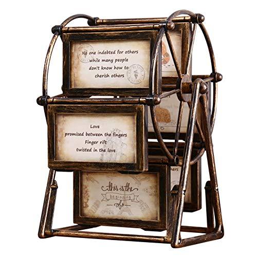 Bilderrahmen für Familie, 12,7 cm, Riesenrad – drehbarer Windmühlen-Bilderrahmen, Heimdekoration, Geschenk – unmontierter Fotorahmen in abnehmbarem Riesenrad Stil (Retrobraun)