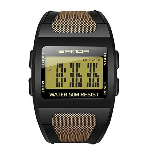 Elektronische Herrenuhr LED-Hintergrundbeleuchtung Multifunktions-Weitwinkel-Digitalarmbanduhr 50M Wasserdichte Sportuhr