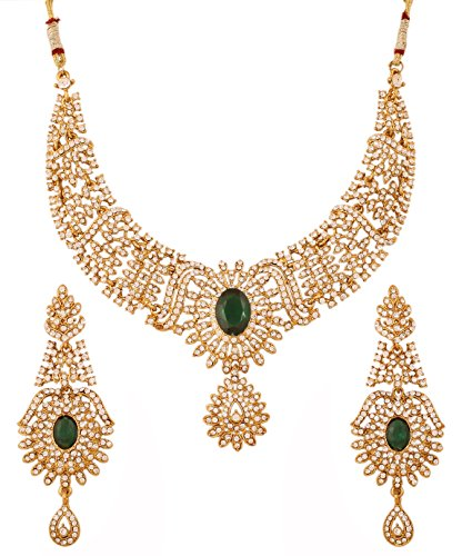 Touchstone Indian Bollywood Sparkling White Rhinestone and Faceted Oval Shape Emerald Bridal Designer Jewelry Necklace Set for Women in Antique Gold Tone