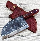Handmade forged Carbon Steel butcher Serbian Cleaver Chopper Kitchen Chef Knife Pakka Wood Handle...
