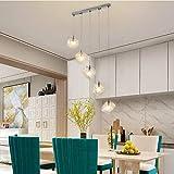 lxc Nórdico Moderno Minimalista Creativo Cubo De Hielo De Vidrio 5 Lámpara Larga Restaurante Tienda Sala Comedor Lámpara Colgante Luz Cálida