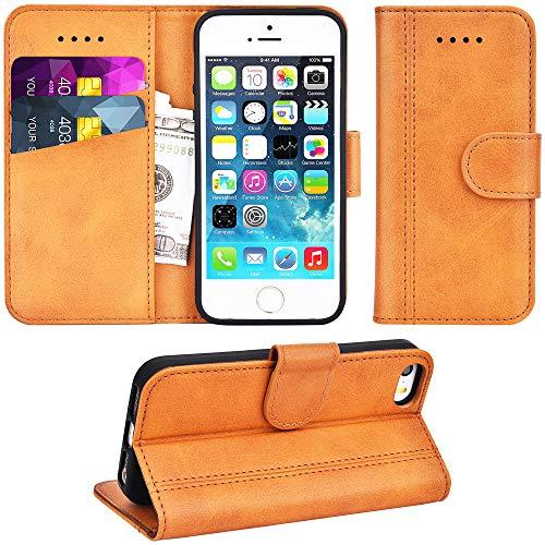 Adicase iPhone 5 Hülle Leder Wallet Tasche Flip Case Handyhülle Schutzhülle für Apple iPhone 5/5S/SE (Braun)