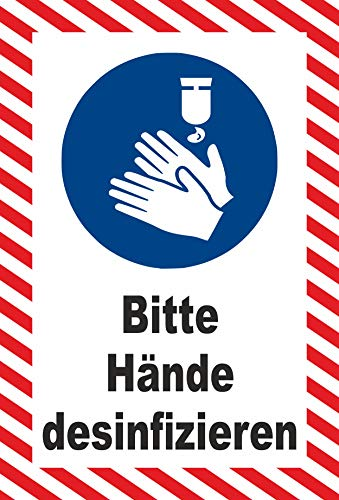 MK-Schilder Aufkleber 15x10cm Bitte Hände desinfizieren - 15x10cm - 20 Varianten