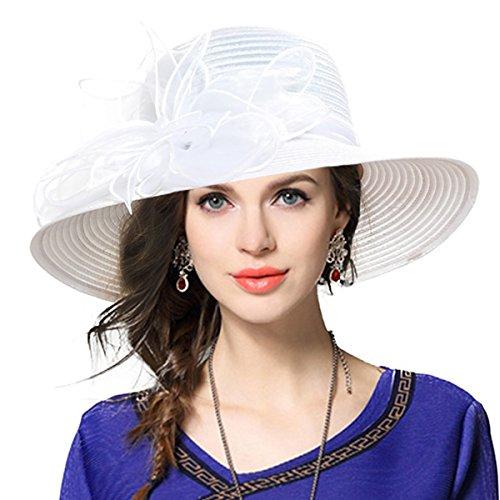 VECRY Damen Oaks Derby Kirche Taufe Kleid Tea Party Hochzeit Sonnenhüte (Weiß)