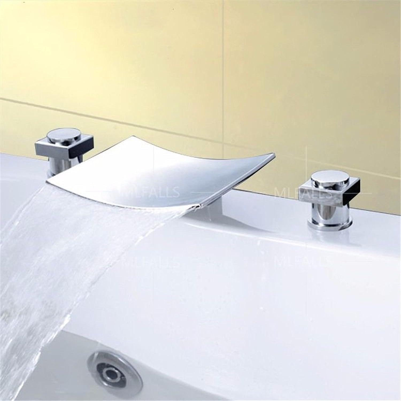 Wasserhhne Warmes und kaltes Wasser groe Qualitt Moderne Silber Messing verchromt mit Doppelgriff drei Loch Keramik Ventil fllt aus dem Mund das Wasser Badewanne Waschbecken 3-Teilig
