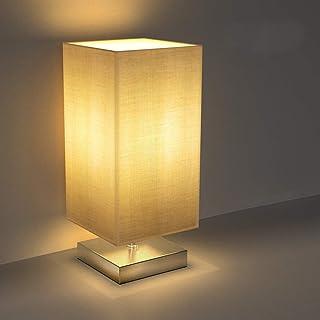 Tischlampe, Nachttischlampe für Schlafzimmer, TECKIN Stoff Schreibtischlampe Retro..