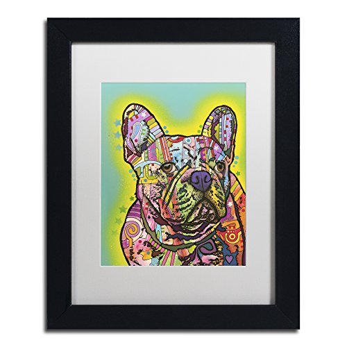 French Bulldog III by Dean Russo, White Matte, Black Frame 11x14-Inch