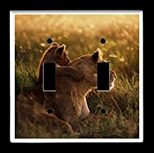 Double Toggle (2-toggle) Light Switch Plate Cover - African Wildlife Safari Animals - Africa Sunset Lions