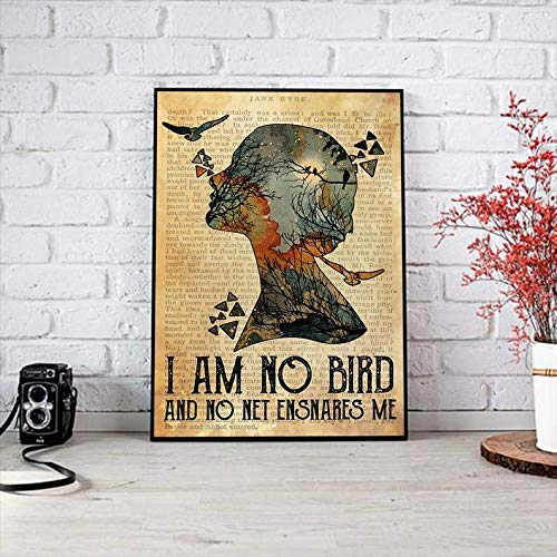 Poster Art I Am No Bird, and No Net Ensnares Me Poster, Book Lover Gift, Book Worm Gift, Vintage Poster, Book Page Art, Jane Eyre Quote Great Gifts Birthday, X-mas Gifts Size 16x24 inch