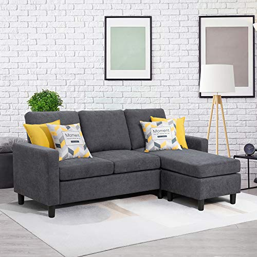 Walsunny Convertible Sectional Sofa Couch with Reversible Chaise, L-Shaped Couch with Modern Linen...