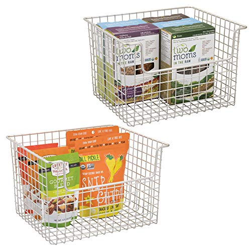 """mDesign Household Open Front Wire Storage Organizer Bin Basket for Kitchen Cabinets, Pantry, Closets, Bedrooms, Bathrooms - 12"""" x 10"""" x 7.75"""", Matte Satin, Pack of 2"""