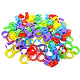 HONBAY 100PCS 5 Colors 16mm Poultry Foot Rings Leg Bands Clip-on Rings for Birds, Ducks and Chickens